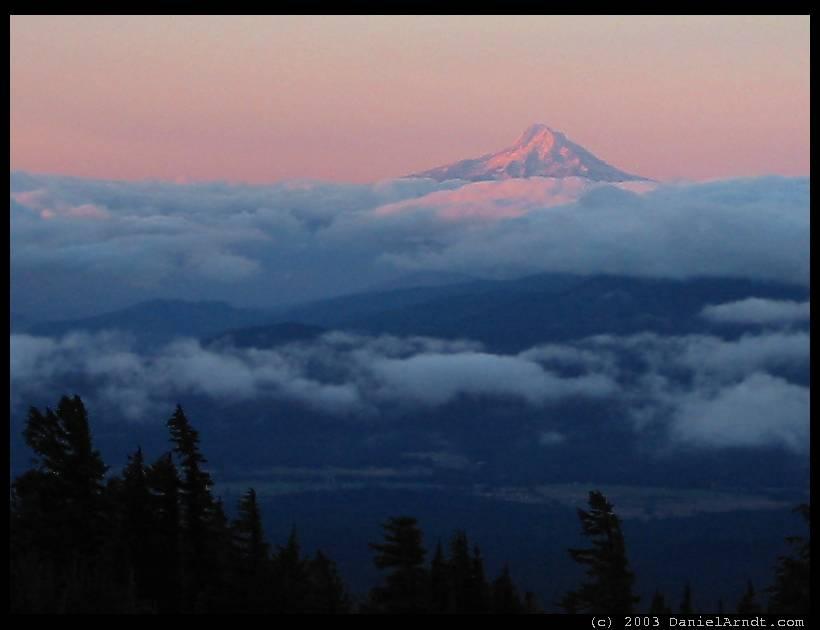 Mount Adams climb: Mt Hood at sunrise