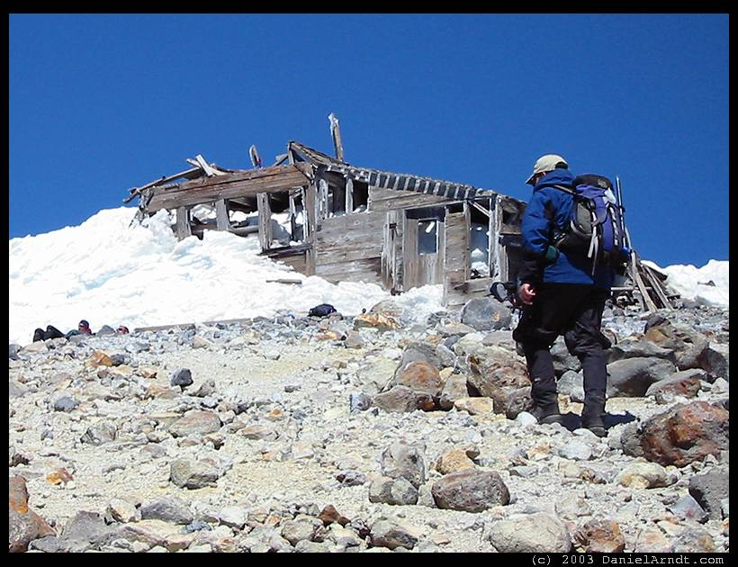 Mount Adams climb: summit with remnants of old hut