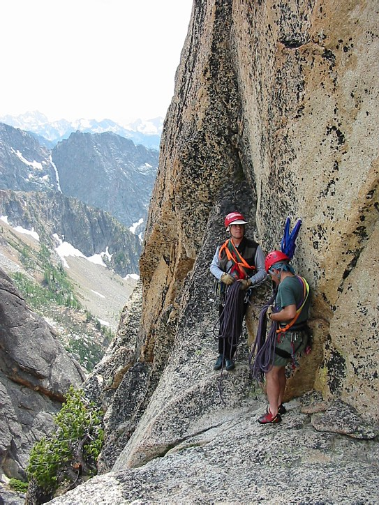 Liberty Bell climb: at the rappel station