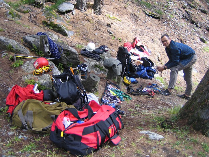 Mont Blanc: sorting our gear before the climb near the Cantine de la Visaille in Val Veni