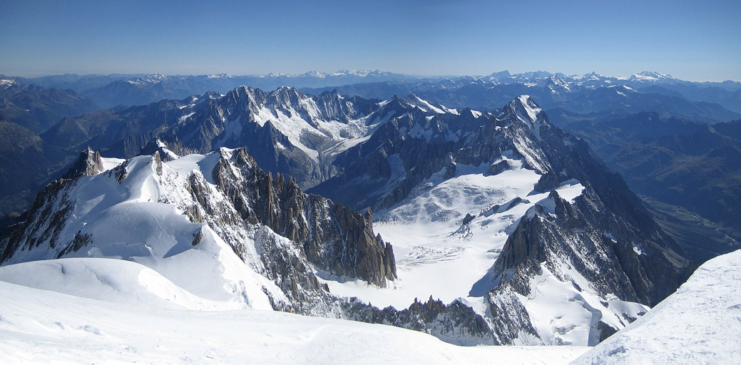 Mont Blanc: looking north at the Mont Blanc massif with Aiguille du Midi and Chamonix