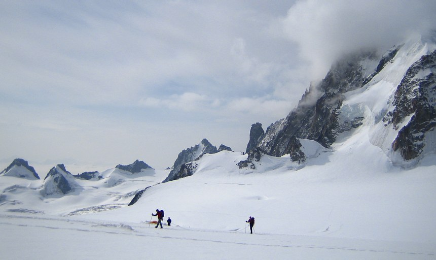 Mont Blanc: climbers on the Col du Midi
