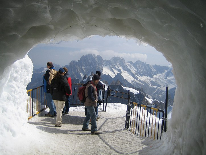 Mont Blanc: at the Aiguille du Midi cable car station, where climber meets tourist