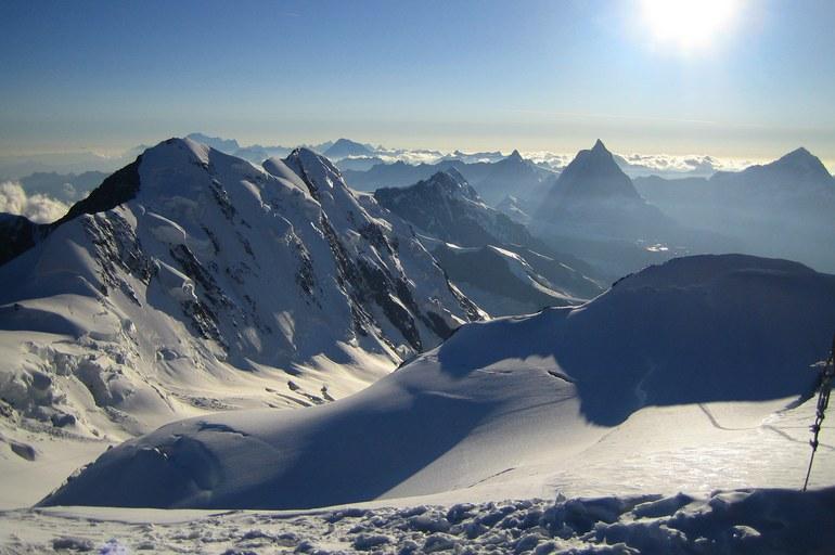 Zumsteinspitze and Signalkuppe: looking west before sunset: Lyskamm, Dent d'Herens, Matterhorn, Dent Blanche