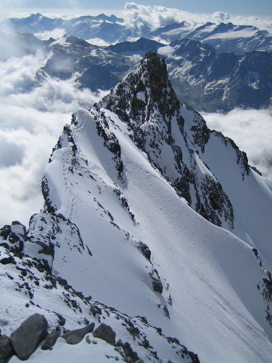 Ortler via Hintergrat: looking back toward Hintergrat ridge