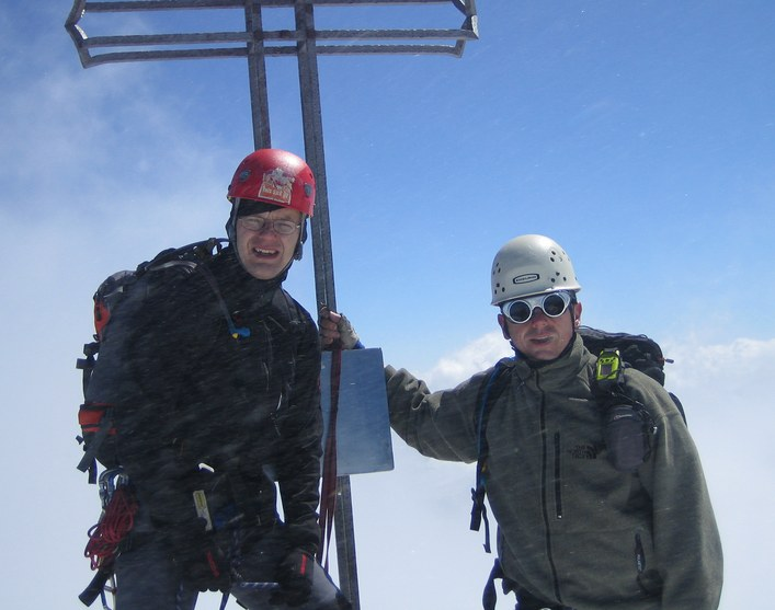 Ortler via Hintergrat: on the summit of Ortler
