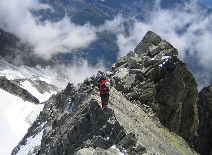 Tour Ronde: Claus-Dieter on the SE ridge of Tour Ronde