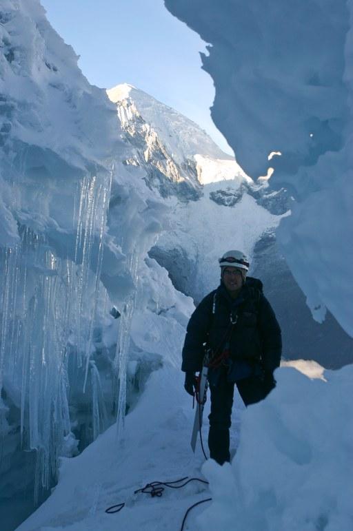 Yanapaccha climb: Jim in the bergschrund