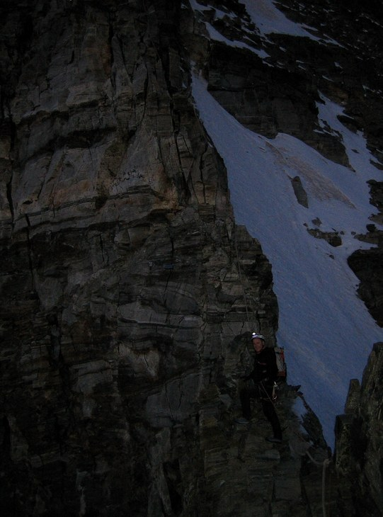 Matterhorn via Hörnli ridge: Peter on the Hörnli ridge leading out at dawn
