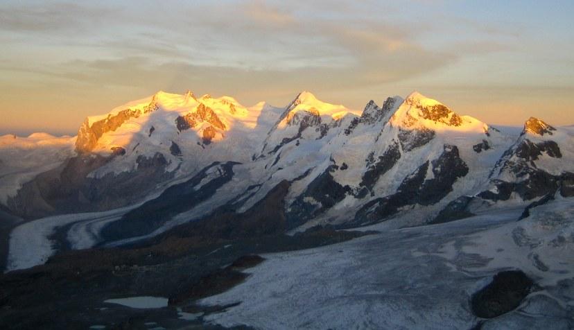 Matterhorn via Hörnli ridge: Monte Rosa group at dusk with Dufourspitze, Lyskamm, Breithorn, and Kleines Matterhorn