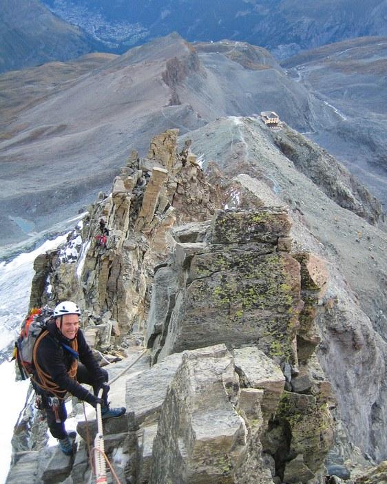 Matterhorn via Hörnli ridge: Peter descending an exposed section of the lower Hörnli ridge after our bivy