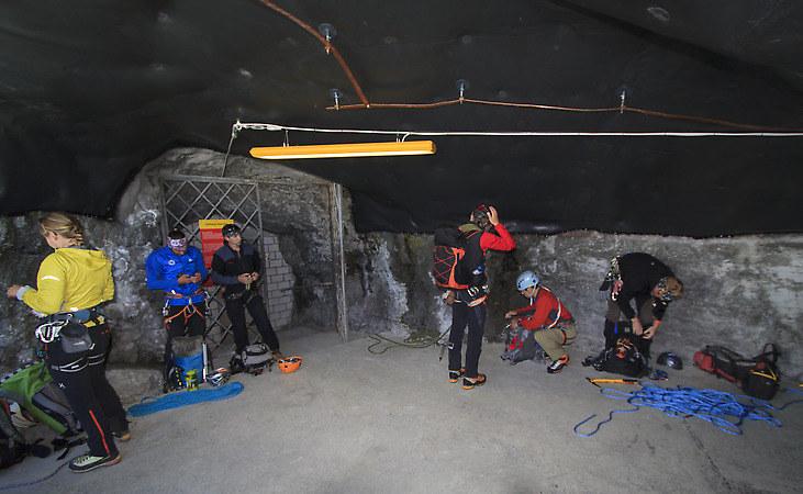 At the station Eigergletscher preparing for the climb to the hut. (keywords: Eiger, climber, alpinist, climber, mountaineer, climber, Kletterer, climber, Bergsteiger, Alps, Alpen, Eigergletscher)