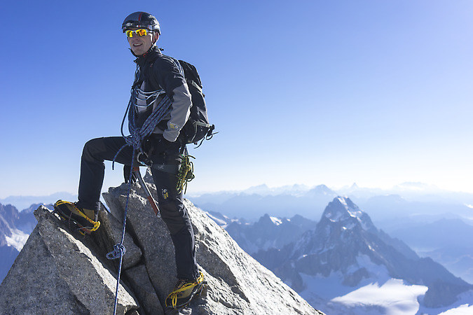 Wilfried on the summit of Mont Maudit (keywords: climber, alpinist, climber, mountaineer, climber, Kletterer, climber, Bergsteiger, Mont Blanc du Tacul, Wilfried, summit)