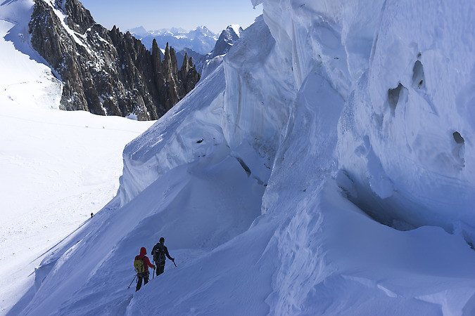 Climbers heading down on the glacier (keywords: climbers, glacier, serac, seracs)