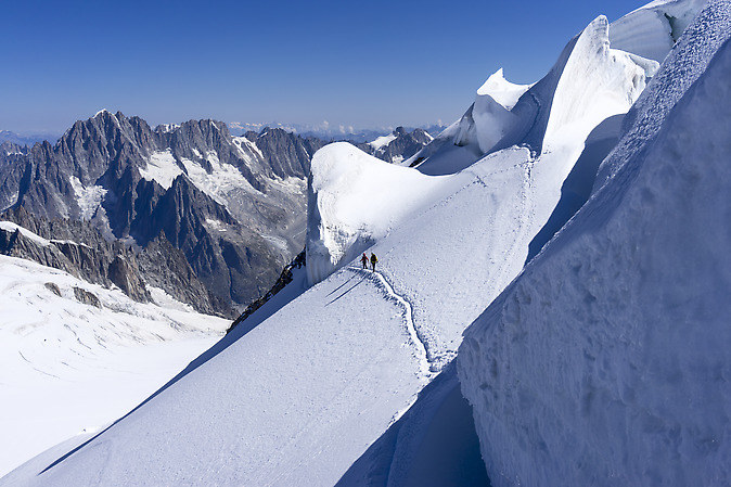 Climbers on the glacier (keywords: Mont Blanc massif, glacier, climbers, serac, seracs)